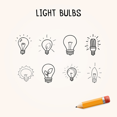 blank button: Set of Hand-drawn light bulbs, doodle icons with yellow pencil Stock Photo