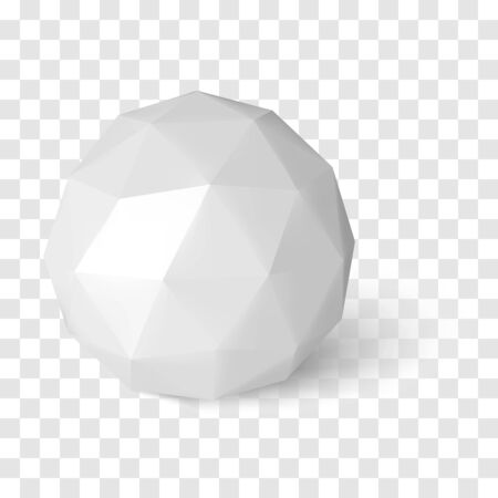 Sphere on transparency background, low poly object with shadow