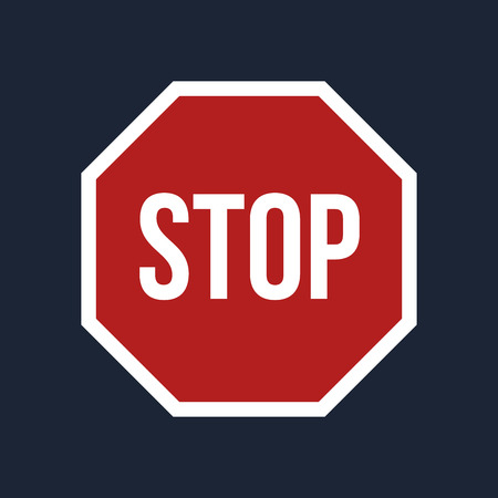 stop sign: Illustration of Stop sign on black background Stock Photo