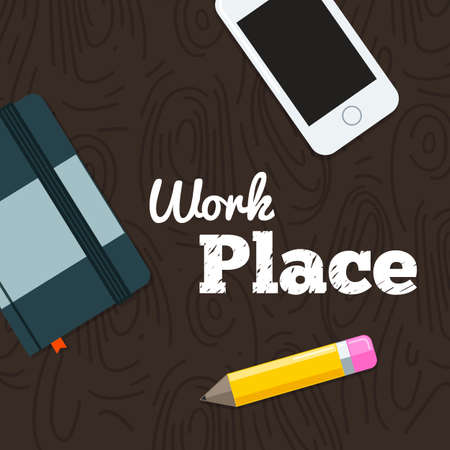 work place: Work place on wood background with business objects