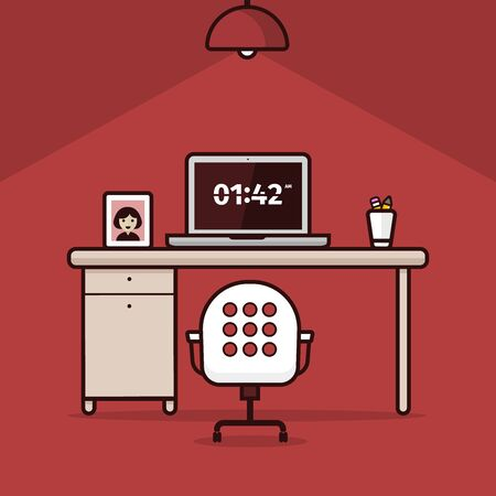 work place: Illustration of work place with light bulb on red background Stock Photo