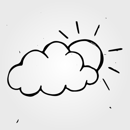 wheather: Hand drawn wheather, doodle sun with cloud Illustration