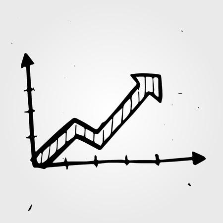 line graph: hand drawn business chart, doodle object