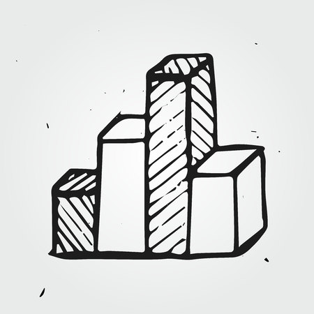 great depression: doodle business chart, hand drawn icon Illustration