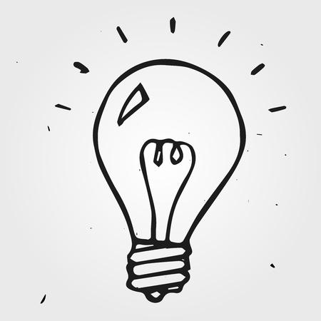 �sketch: bombilla de luz dibujado a mano, icono garabato Vectores