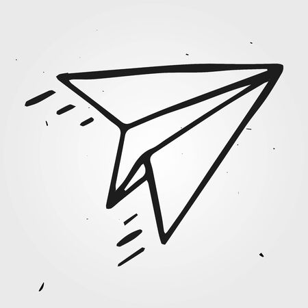 airplane icon: paper airplane isolated, hand drawn object