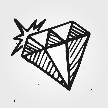 gemstone: doodle diamond, gemstone hand drawn icon