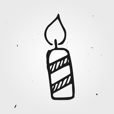 burning paper: doodle candle isolated, hand drawn object