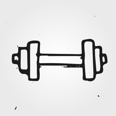 hand with dumbbell: doodle dumbbell, hand drawn sports equipment