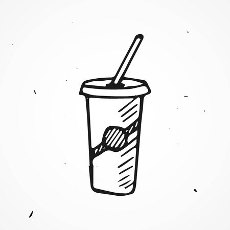 tare: Hand drawn cup with tube, vector doodle