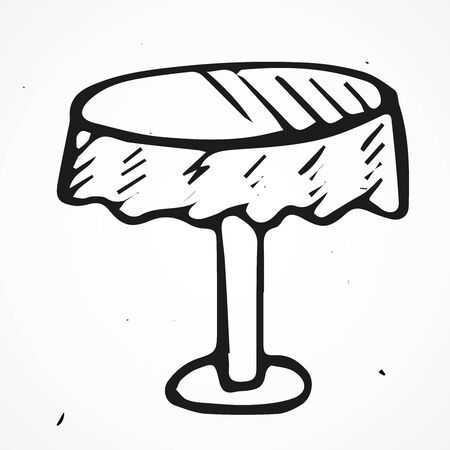 antique table: Hand drawn antique table, vector doodle object