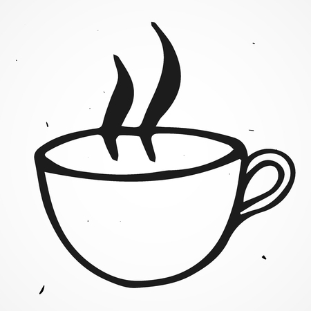 steam of a leaf: Tea cup vector doodle illustration, hand drawn