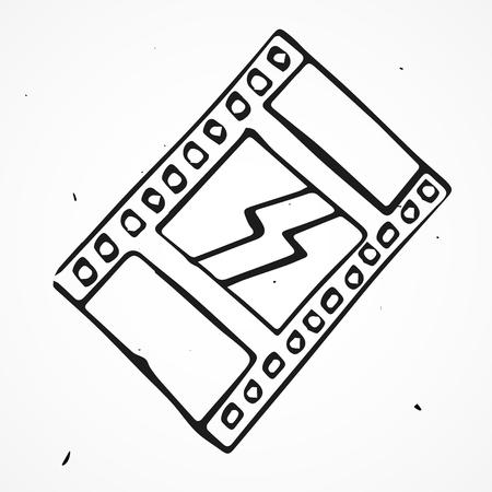 bollywood: Film strip roll set hand drawn, doodle