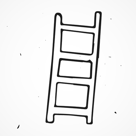 clambering: Vector doodle ladders, stepladders hand drawn object Illustration