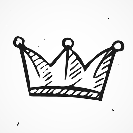 jeweled: Simple doodle crown icon, vector, hand drawn
