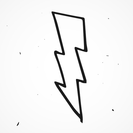 Lightning bolt hand drawn, vector doodle element