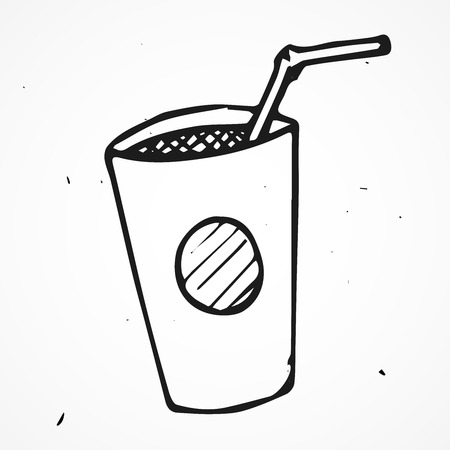 coolness: Vector paper fast food cup with tube, hand drawn