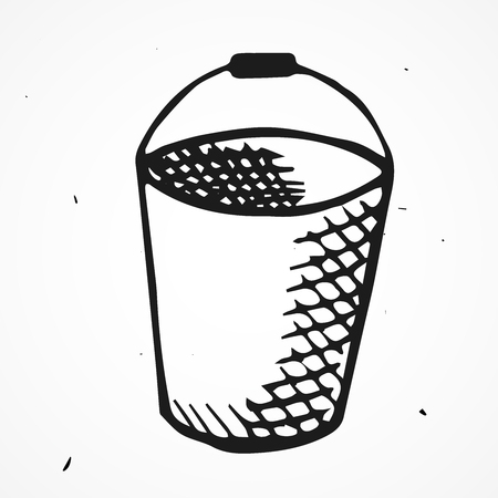 lowbrow: Vector old bucket cartoon doodle, hand drawn