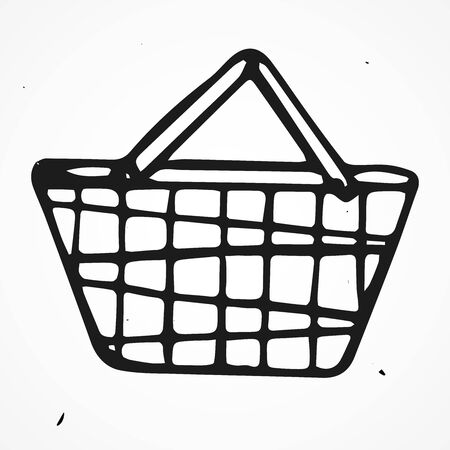 lowbrow: Vector cartoon doodle shopping basket, hand drawn Illustration