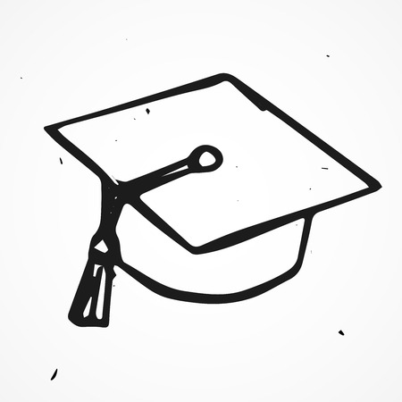 Vector hand drawn graduate cap, doodle, isolated Illustration