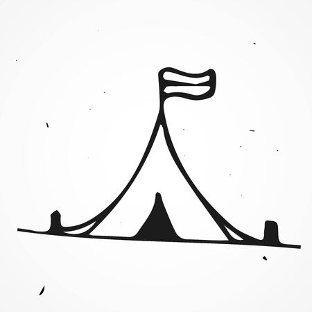 wedding tent: Vector tent hand drawn, doodle object isolated Illustration