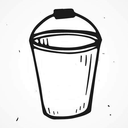 tinned: Vector bucket hand drawn, doodle object isolated