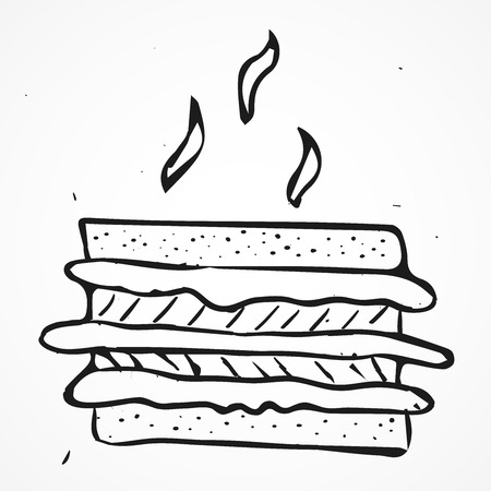 tasty: Tasty sandwich hand drawn, vector doodle element