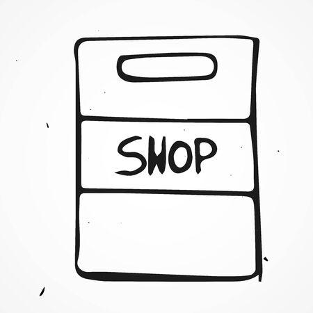 transact: Vector doodle shopping bag icon, hand drawn