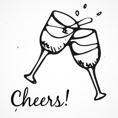 champagne glasses: Vector doodle glasses of champagne, Hand drawn Illustration