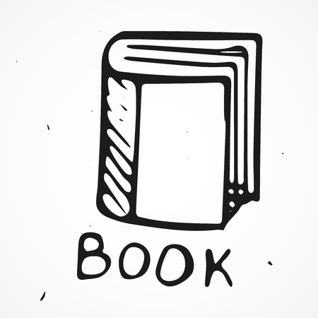 Hand drawn Book with text, doodle, vector
