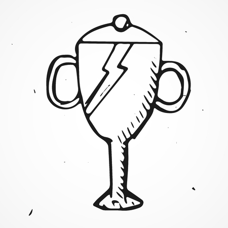 spotless: Vector Trophy Hand drawn, doodle object, isolated