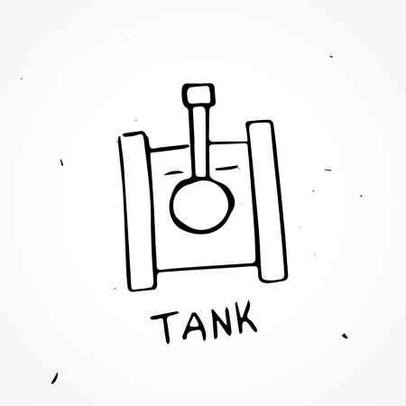 wartime: Vector Hand drawn tank isolated, doodle object