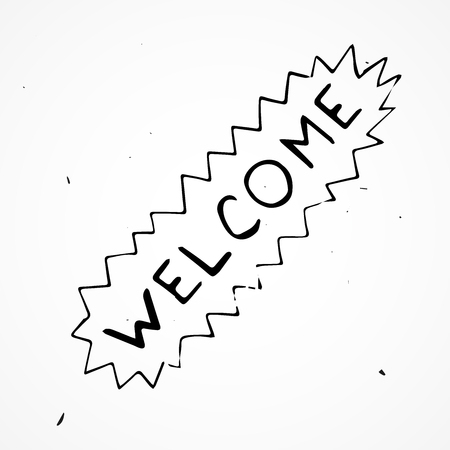locution: Hand drawn Welcome sign isolated, vector doodle Illustration