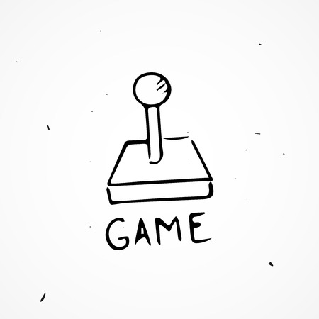 lowbrow: Hand drawn joystick vector isolated, doodle object Illustration