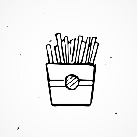 grease: Hand drawn french fries, vector doodle icon