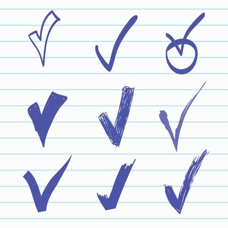 cheque en blanco: Vector conjunto de dibujado a mano de verificación, garabato
