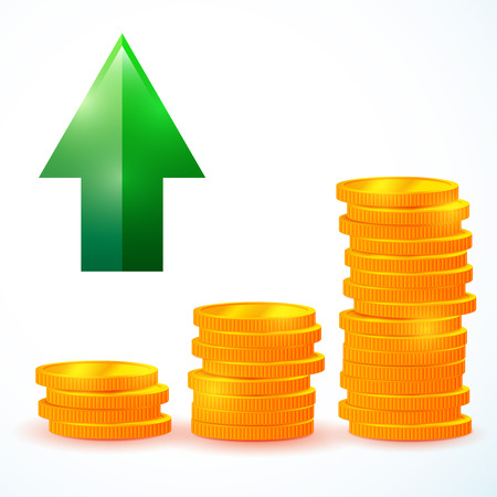 bank records: Illustration of financial growth, vector coins image