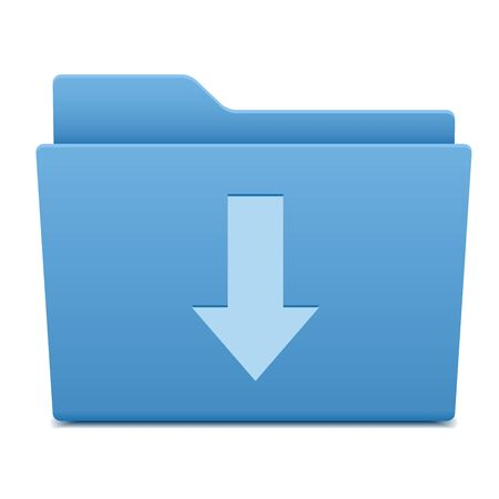archive site: Vector computer folder, object with download symbol Illustration
