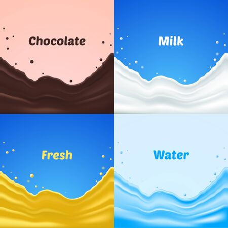 illustrating: Set of chocolate, water, fresh and milk splash, vector illustrating Illustration