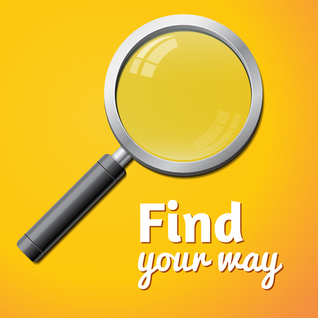 low scale: find your way inscription, vector magnifier isolated