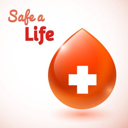 blood donation: Safe a life. Blood donation. Cross symbol on red blood drop