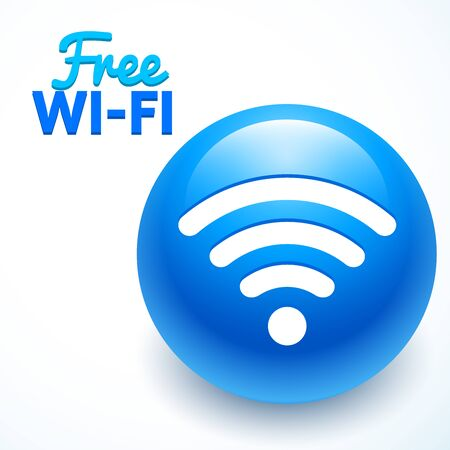 blue sphere: Vector wi-Fi symbol on awesome blue sphere