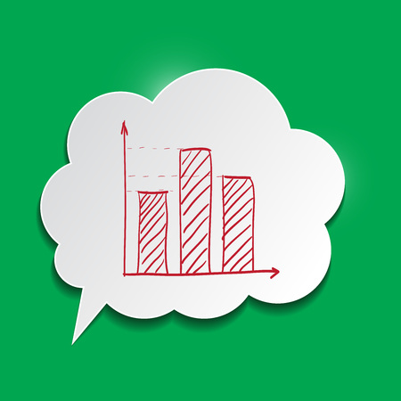 editable: Paper bubble with chart on green background
