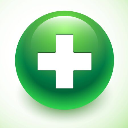 green plus: Vector Plus on green sphere. Add symbol isolated Illustration