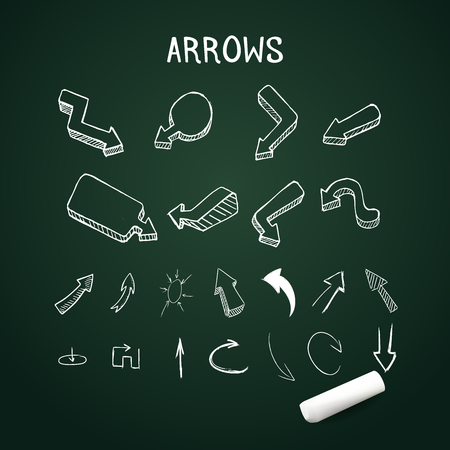 two dimensional shape: Realistic up and down arrows with chalk Illustration