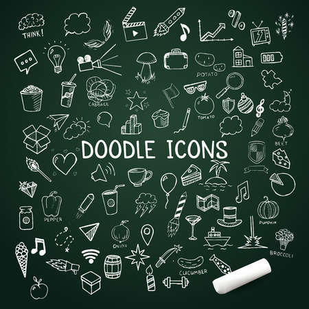 chalk drawing: Set of doodle icons, vector hand-drawn objects, illustration on chalkboard Illustration