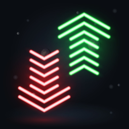 Vector neon illustration. Up and down arrows on dark background