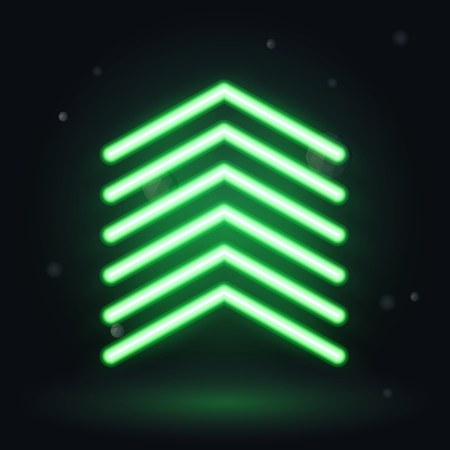 neon green: Neon up arrow, vector illusrtration on dark background Illustration