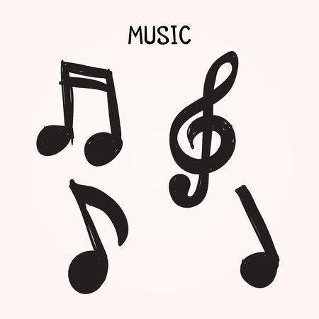 Vector set van de hand getekende muziek nota's, op een witte achtergrond voor ontwerp, doodle illustratie