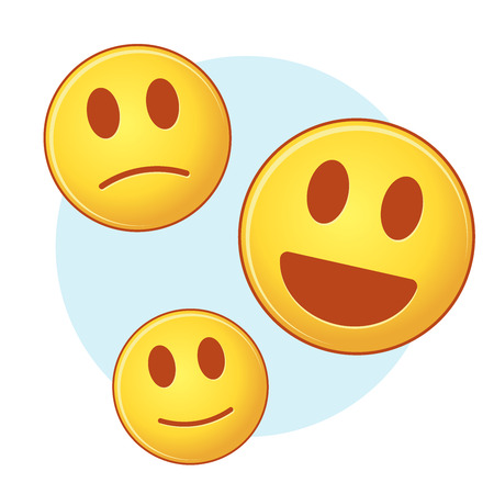 satisfied expression: Set of vector emoji, on blue and white background